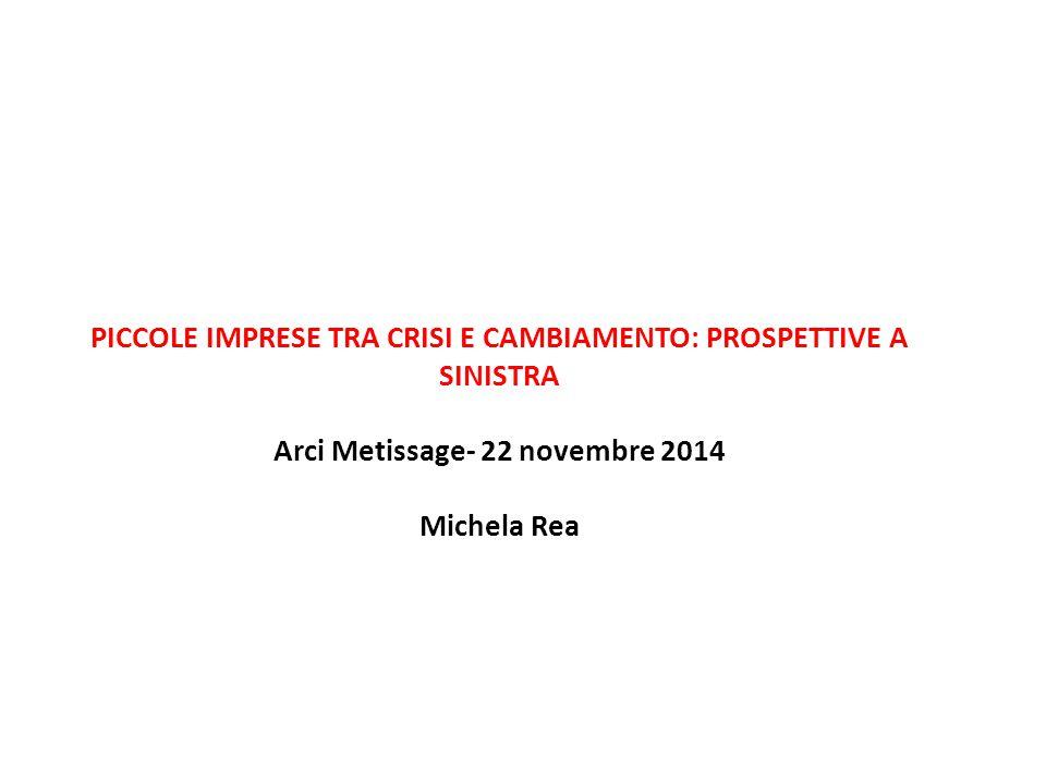 PICCOLE IMPRESE TRA CRISI E CAMBIAMENTO: PROSPETTIVE A SINISTRA Arci Metissage- 22 novembre 2014 Michela Rea