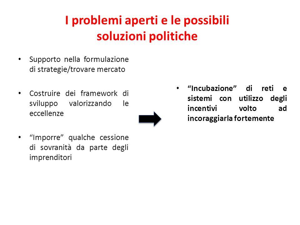 I problemi aperti e le possibili soluzioni politiche Supporto nella formulazione di strategie/trovare mercato Costruire dei framework di sviluppo valo
