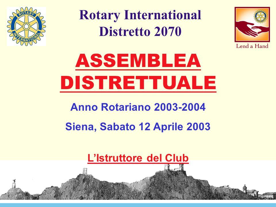 Rotary International Distretto 2070 ASSEMBLEA DISTRETTUALE Anno Rotariano 2003-2004 Siena, Sabato 12 Aprile 2003 L'Istruttore del Club