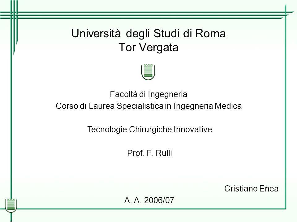 Università degli Studi di Roma Tor Vergata Facoltà di Ingegneria Corso di Laurea Specialistica in Ingegneria Medica Tecnologie Chirurgiche Innovative Prof.