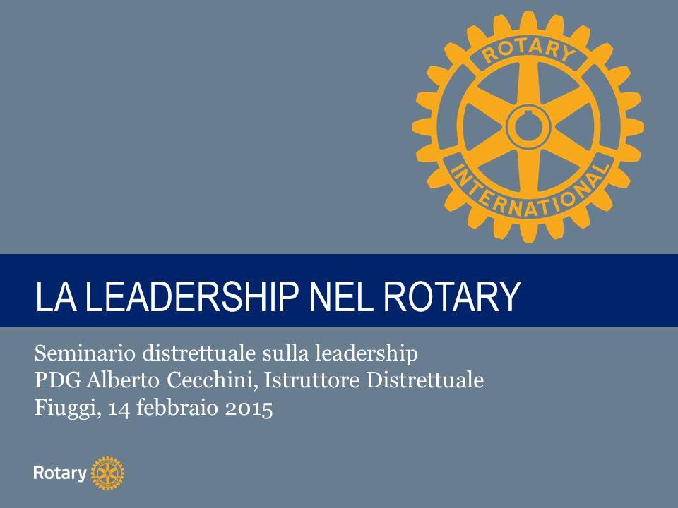 TITLE LA LEADERSHIP NEL ROTARY Seminario distrettuale sulla leadership PDG Alberto Cecchini, Istruttore Distrettuale Fiuggi, 14 febbraio 2015