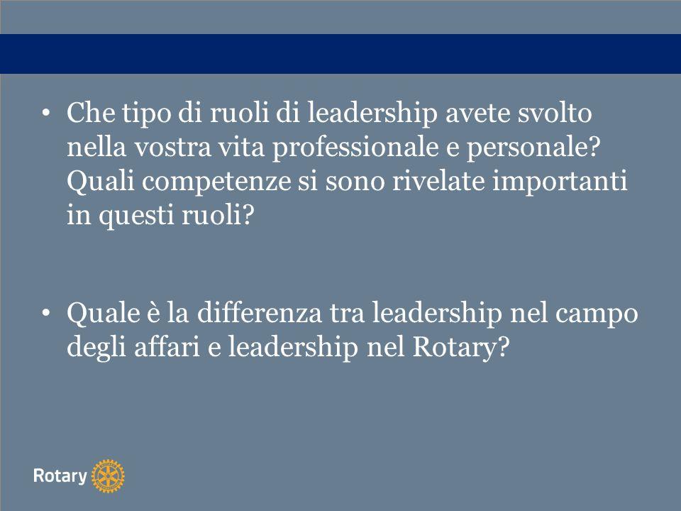 Che tipo di ruoli di leadership avete svolto nella vostra vita professionale e personale? Quali competenze si sono rivelate importanti in questi ruoli