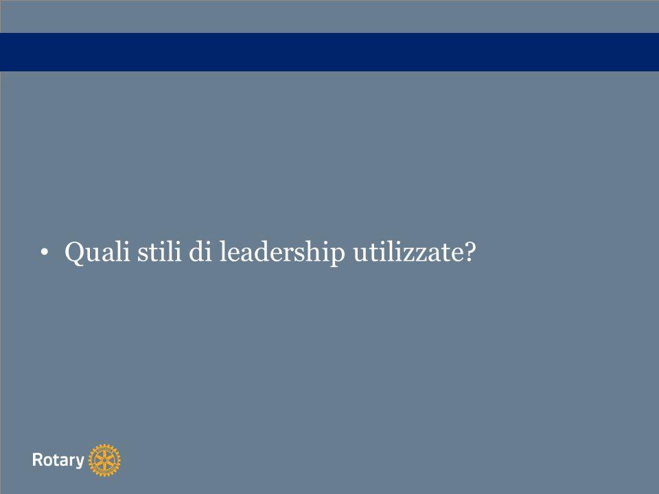 Quali stili di leadership utilizzate?
