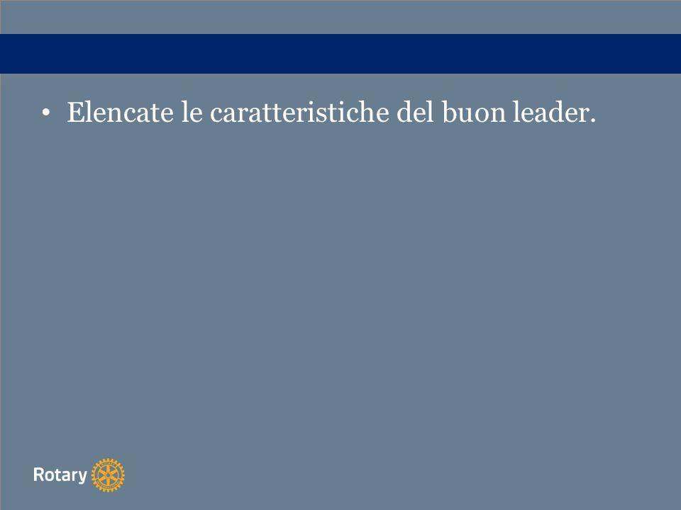 Elencate le caratteristiche del buon leader.
