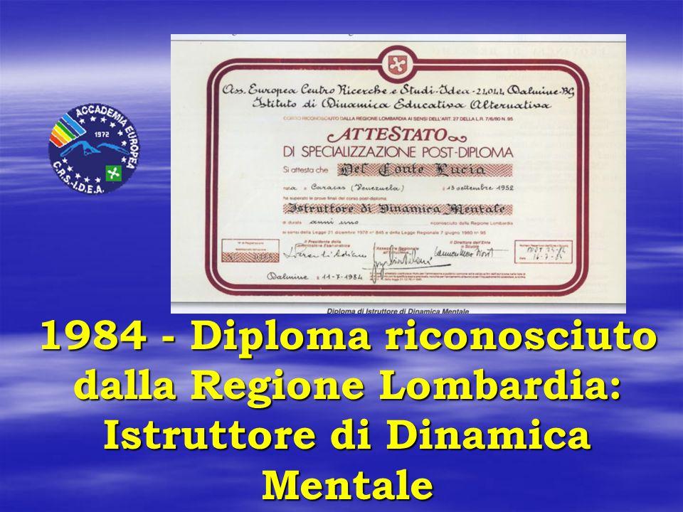 1984 - Diploma riconosciuto dalla Regione Lombardia: Istruttore di Dinamica Mentale