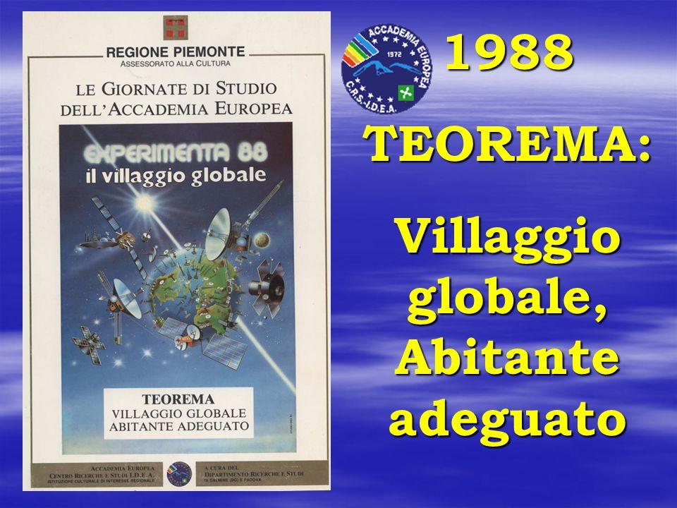 1988 TEOREMA: Villaggio globale, Abitante adeguato