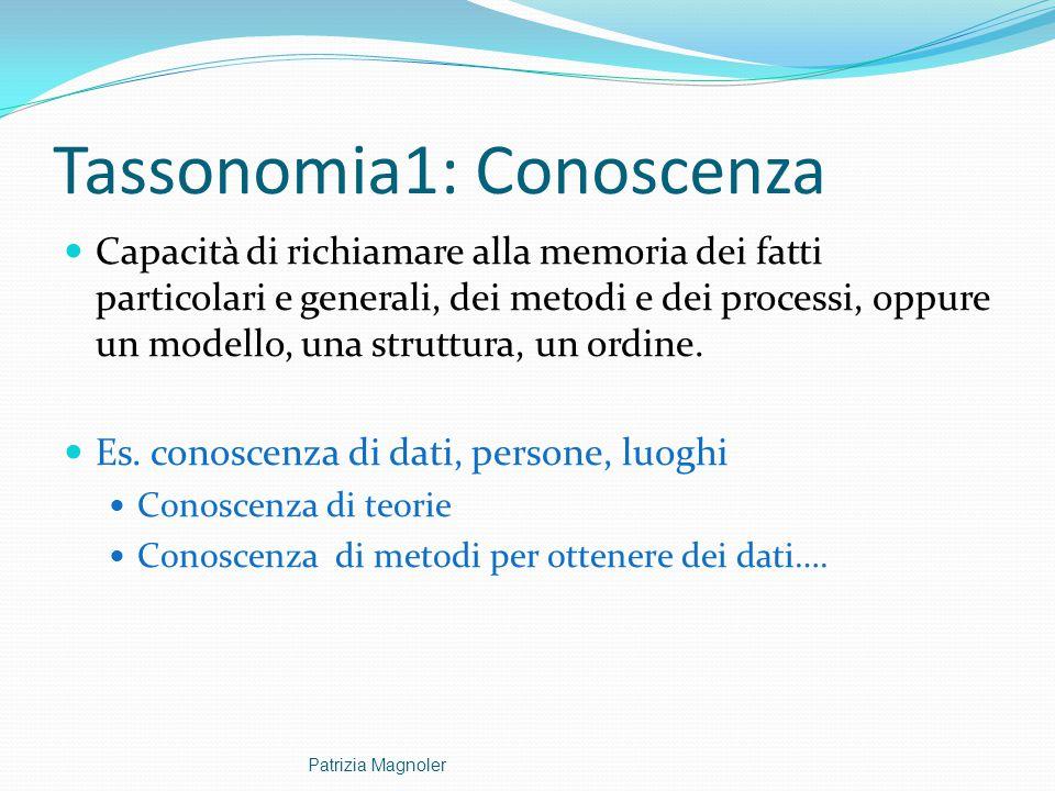 Tassonomia1: Conoscenza Capacità di richiamare alla memoria dei fatti particolari e generali, dei metodi e dei processi, oppure un modello, una strutt