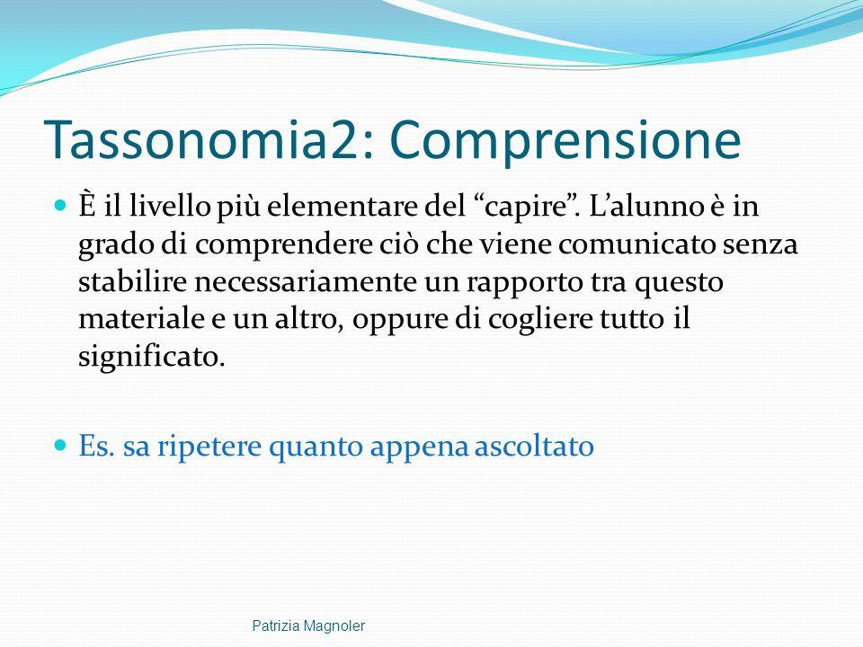 """Tassonomia2: Comprensione È il livello più elementare del """"capire"""". L'alunno è in grado di comprendere ciò che viene comunicato senza stabilire necess"""