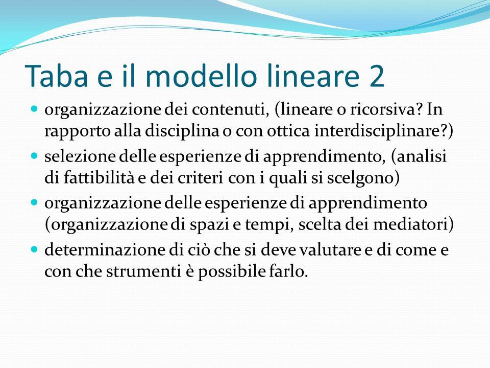 Taba e il modello lineare 2 organizzazione dei contenuti, (lineare o ricorsiva? In rapporto alla disciplina o con ottica interdisciplinare?) selezione