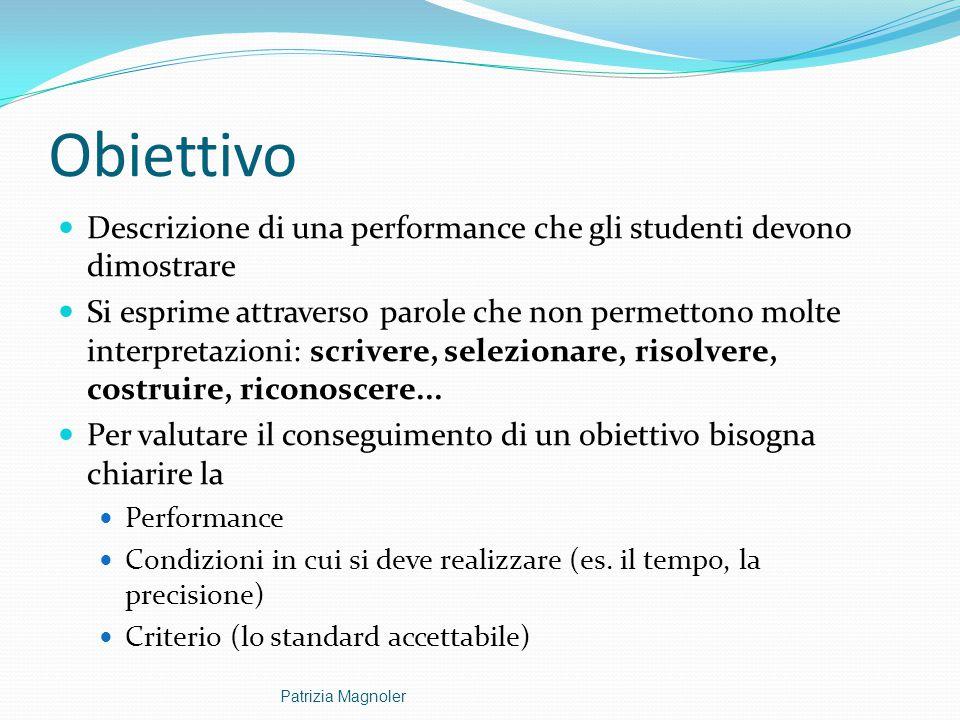 Obiettivo Descrizione di una performance che gli studenti devono dimostrare Si esprime attraverso parole che non permettono molte interpretazioni: scr