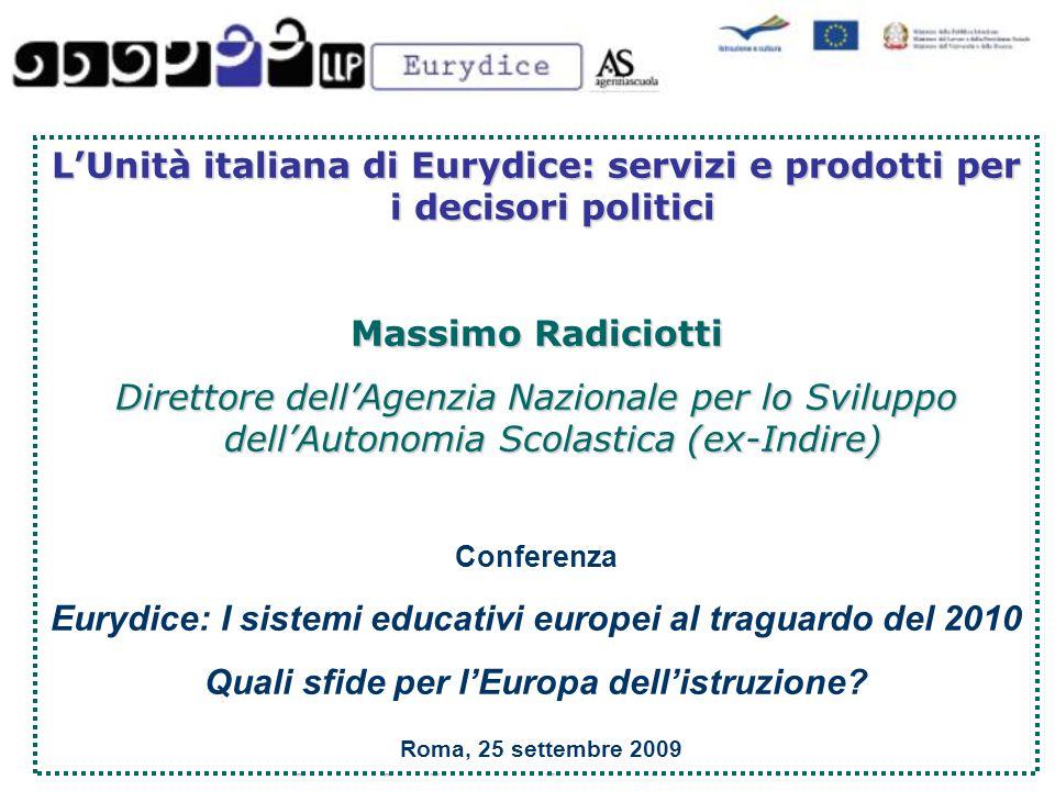 L'Unità italiana di Eurydice: servizi e prodotti per i decisori politici Massimo Radiciotti Direttore dell'Agenzia Nazionale per lo Sviluppo dell'Autonomia Scolastica (ex-Indire) Conferenza Eurydice: I sistemi educativi europei al traguardo del 2010 Quali sfide per l'Europa dell'istruzione.