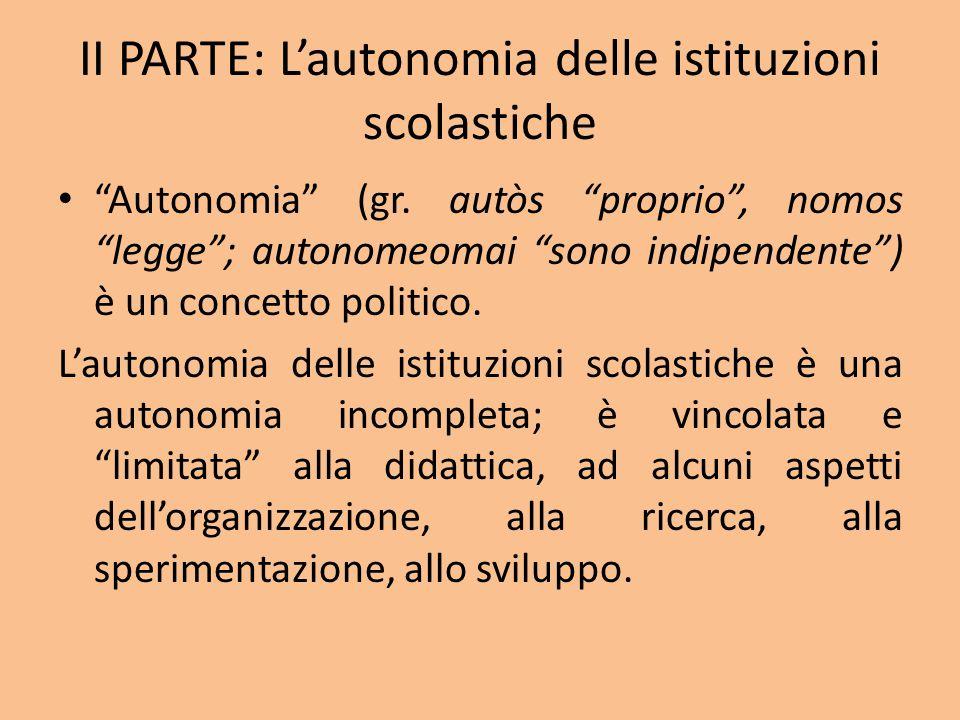 II PARTE: L'autonomia delle istituzioni scolastiche Autonomia (gr.