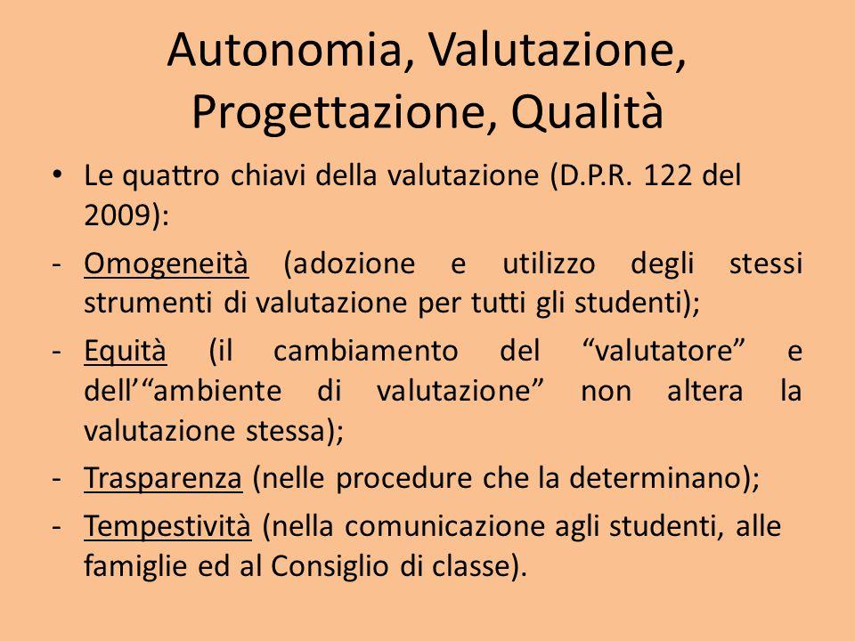 Autonomia, Valutazione, Progettazione, Qualità Le quattro chiavi della valutazione (D.P.R.