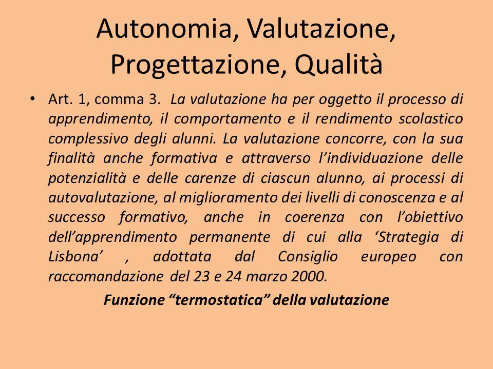 Autonomia, Valutazione, Progettazione, Qualità Art.