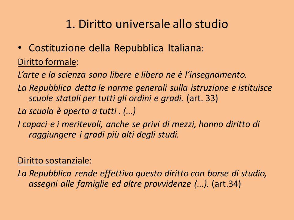 1. Diritto universale allo studio Costituzione della Repubblica Italiana : Diritto formale: L'arte e la scienza sono libere e libero ne è l'insegnamen