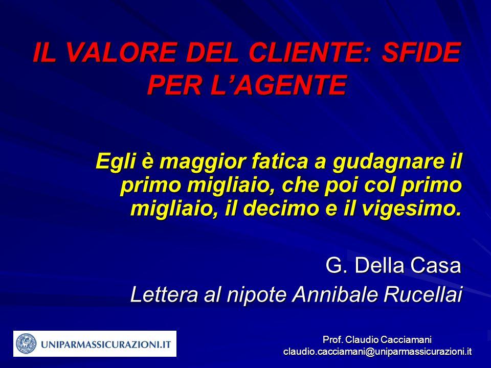 Prof. Claudio Cacciamani claudio.cacciamani@uniparmassicurazioni.it IL VALORE DEL CLIENTE: SFIDE PER L'AGENTE Egli è maggior fatica a gudagnare il pri