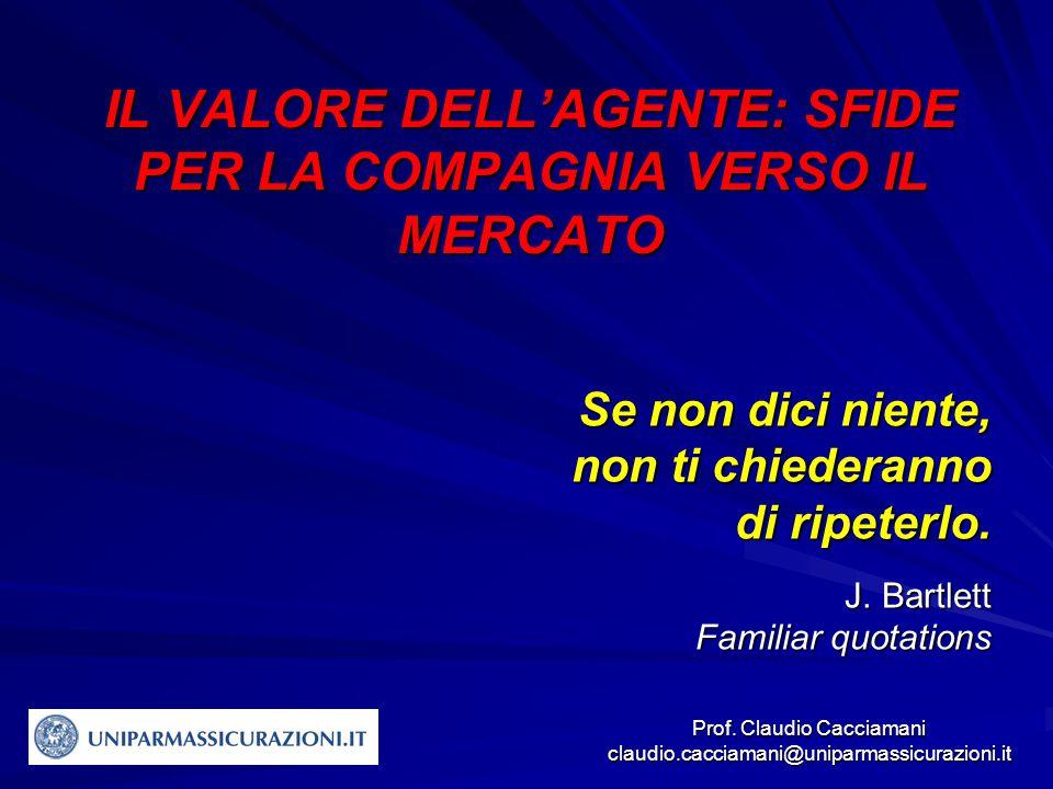 Prof. Claudio Cacciamani claudio.cacciamani@uniparmassicurazioni.it IL VALORE DELL'AGENTE: SFIDE PER LA COMPAGNIA VERSO IL MERCATO Se non dici niente,