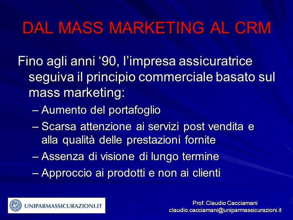 Prof. Claudio Cacciamani claudio.cacciamani@uniparmassicurazioni.it DAL MASS MARKETING AL CRM Fino agli anni '90, l'impresa assicuratrice seguiva il p