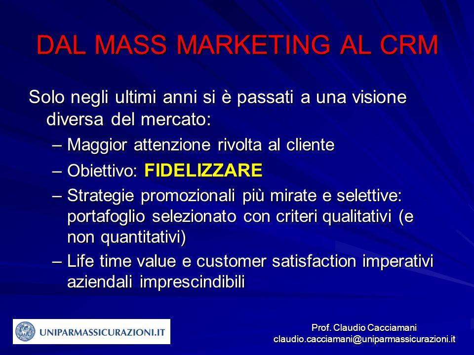 Prof. Claudio Cacciamani claudio.cacciamani@uniparmassicurazioni.it DAL MASS MARKETING AL CRM Solo negli ultimi anni si è passati a una visione divers