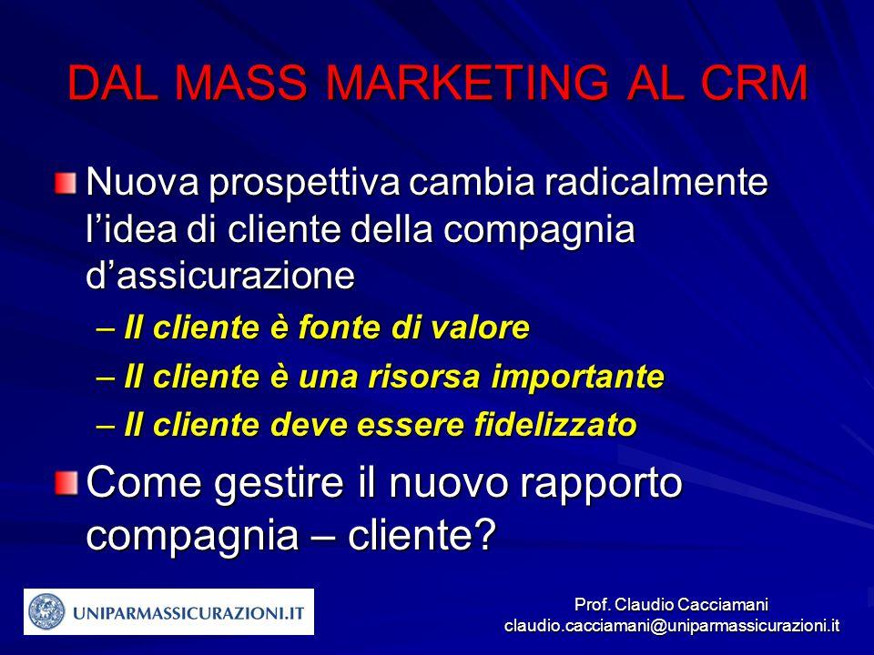 Prof. Claudio Cacciamani claudio.cacciamani@uniparmassicurazioni.it DAL MASS MARKETING AL CRM Nuova prospettiva cambia radicalmente l'idea di cliente