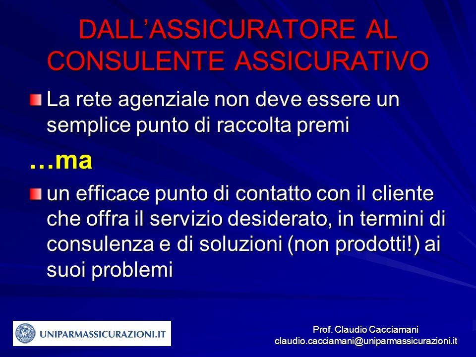 Prof. Claudio Cacciamani claudio.cacciamani@uniparmassicurazioni.it DALL'ASSICURATORE AL CONSULENTE ASSICURATIVO La rete agenziale non deve essere un