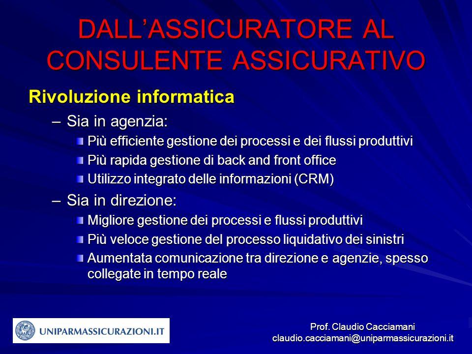 Prof. Claudio Cacciamani claudio.cacciamani@uniparmassicurazioni.it DALL'ASSICURATORE AL CONSULENTE ASSICURATIVO Rivoluzione informatica –Sia in agenz