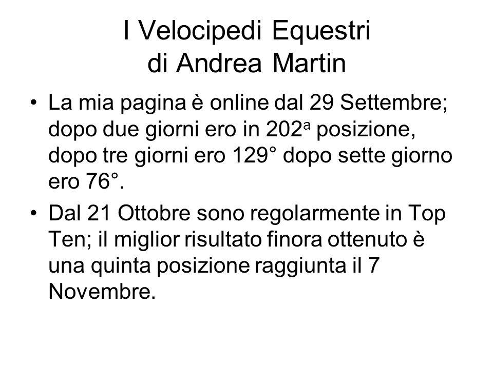 I Velocipedi Equestri di Andrea Martin La mia pagina è online dal 29 Settembre; dopo due giorni ero in 202 a posizione, dopo tre giorni ero 129° dopo sette giorno ero 76°.