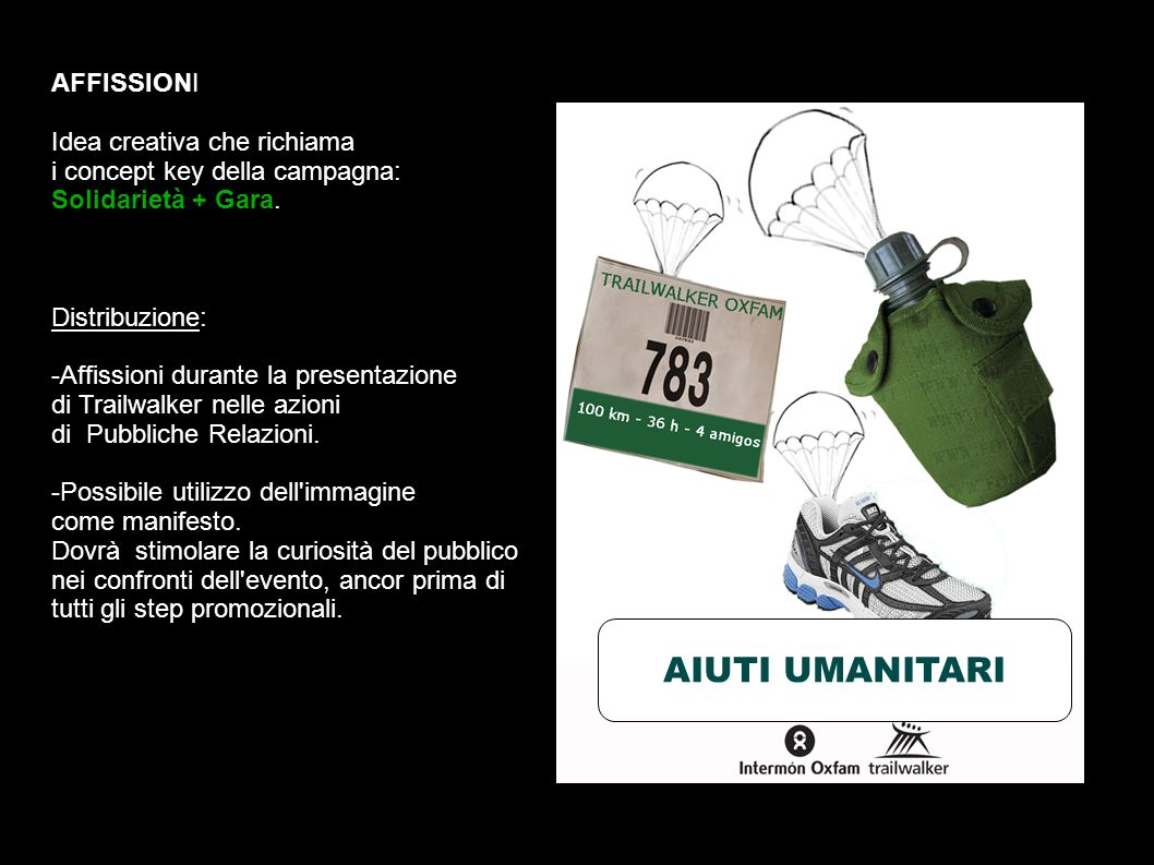 AFFISSIONI Idea creativa che richiama i concept key della campagna: Solidarietà + Gara.