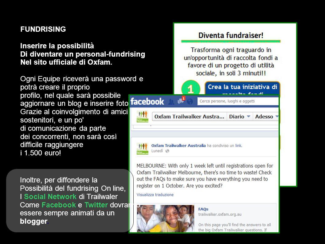 FUNDRISING Inserire la possibilità Di diventare un personal-fundrising Nel sito ufficiale di Oxfam.