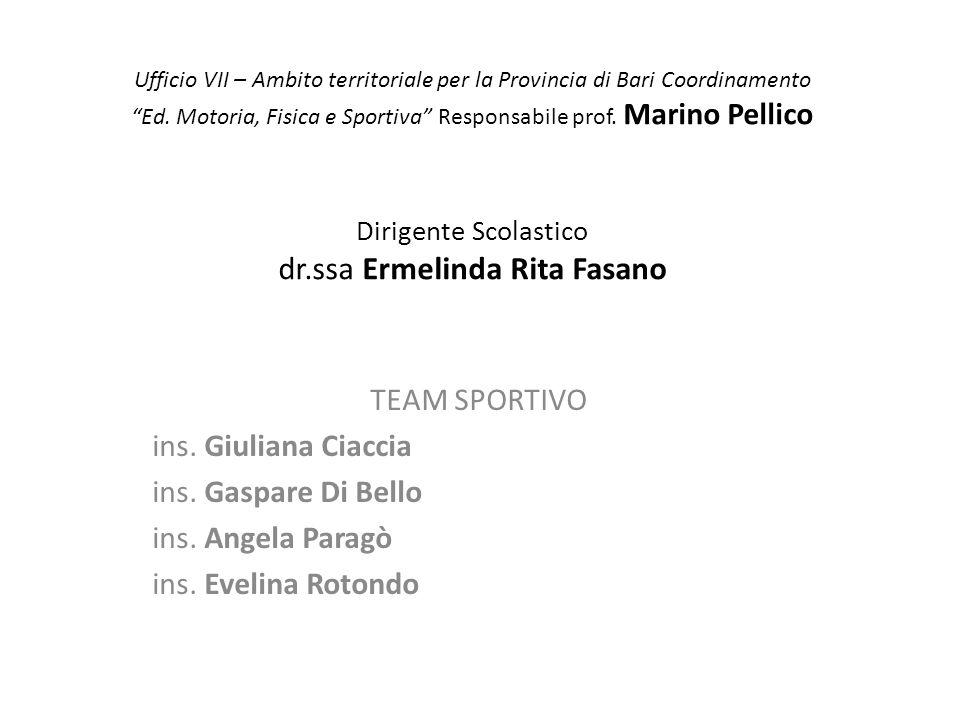 """Ufficio VII – Ambito territoriale per la Provincia di Bari Coordinamento """"Ed. Motoria, Fisica e Sportiva"""" Responsabile prof. Marino Pellico Dirigente"""