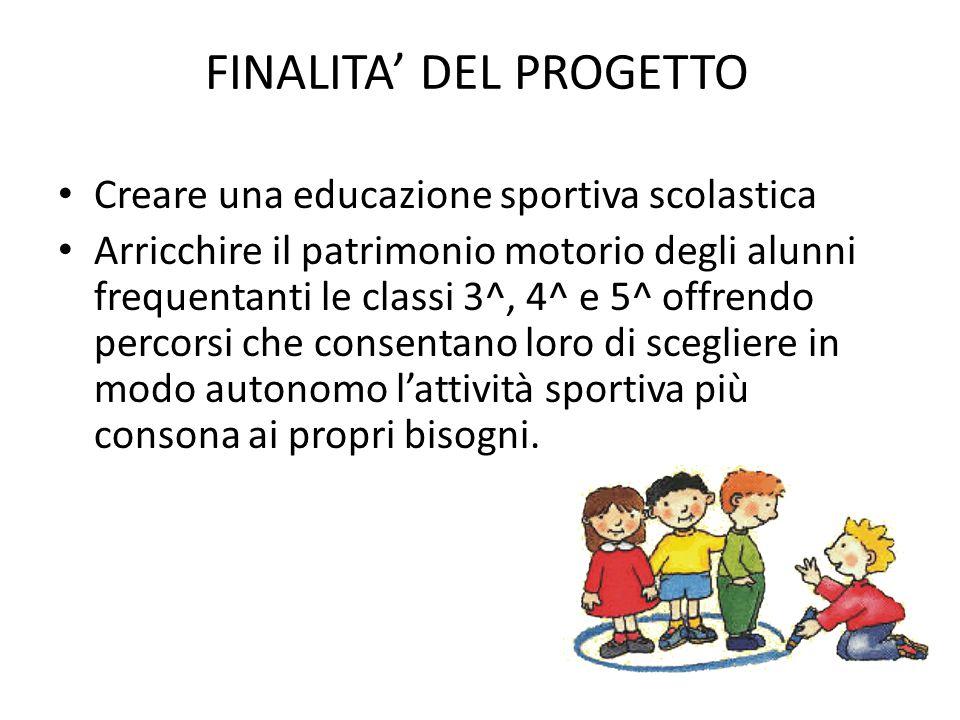 FINALITA' DEL PROGETTO Creare una educazione sportiva scolastica Arricchire il patrimonio motorio degli alunni frequentanti le classi 3^, 4^ e 5^ offr
