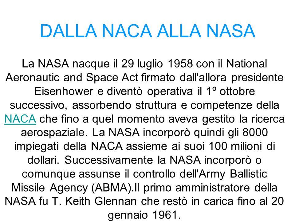 DALLA NACA ALLA NASA La NASA nacque il 29 luglio 1958 con il National Aeronautic and Space Act firmato dall'allora presidente Eisenhower e diventò ope