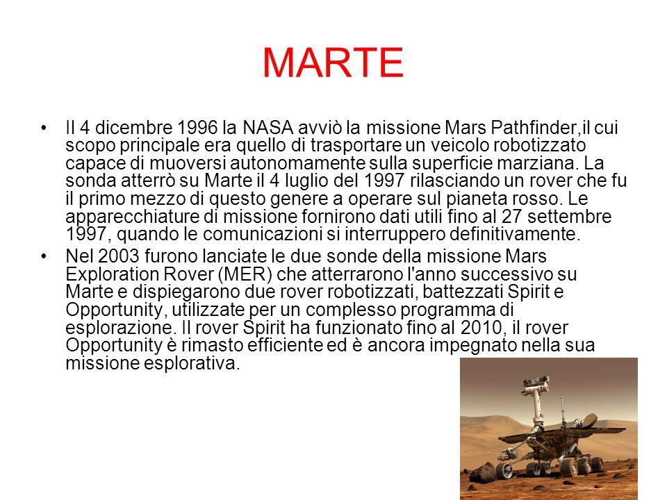 MARTE Il 4 dicembre 1996 la NASA avviò la missione Mars Pathfinder,il cui scopo principale era quello di trasportare un veicolo robotizzato capace di