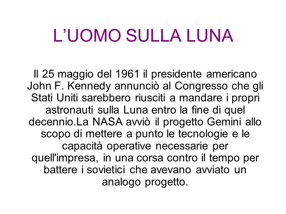L'UOMO SULLA LUNA Il 25 maggio del 1961 il presidente americano John F. Kennedy annunciò al Congresso che gli Stati Uniti sarebbero riusciti a mandare