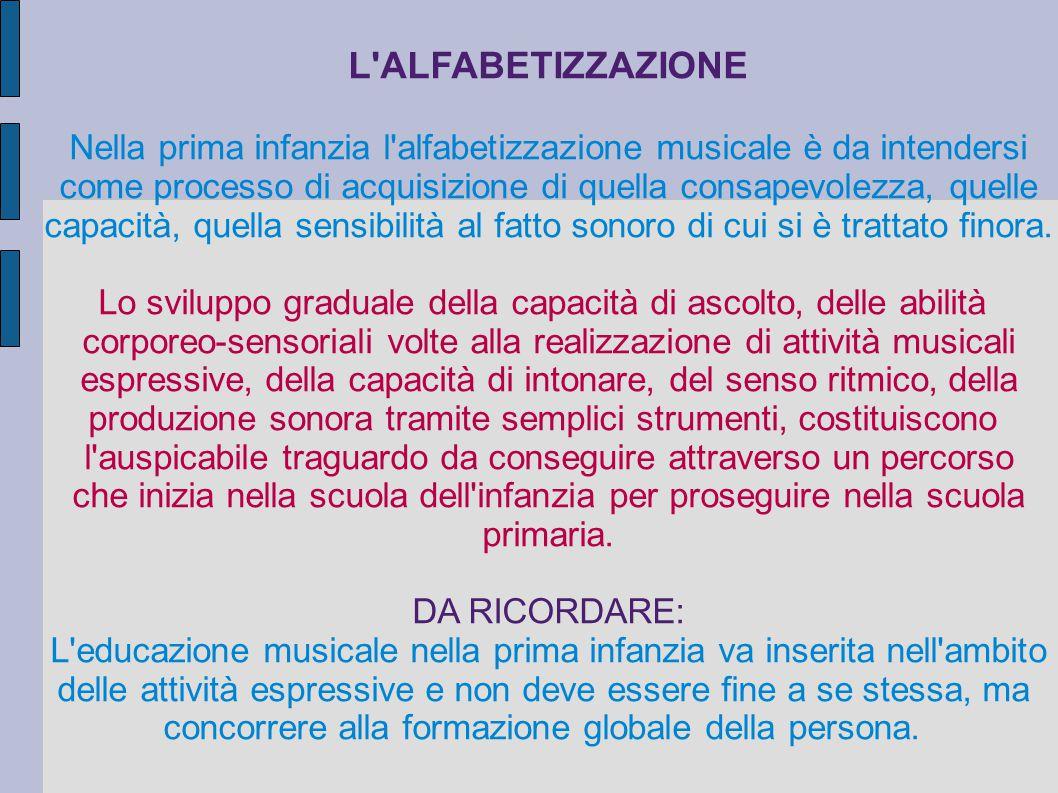 L'ALFABETIZZAZIONE Nella prima infanzia l'alfabetizzazione musicale è da intendersi come processo di acquisizione di quella consapevolezza, quelle cap