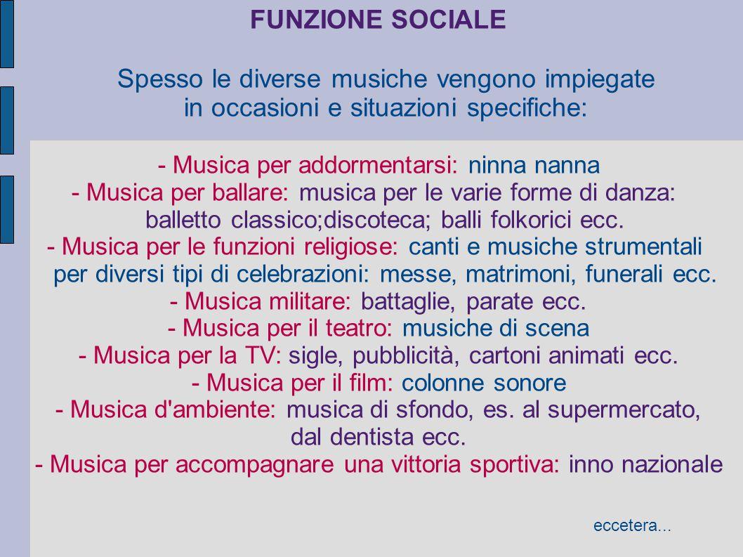 FUNZIONE SOCIALE In quale ambiente e in quale contesto si ascolta una determinata musica.