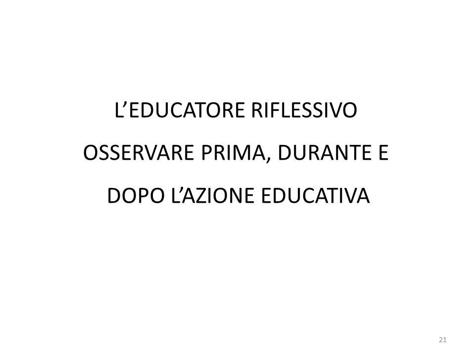 21 L'EDUCATORE RIFLESSIVO OSSERVARE PRIMA, DURANTE E DOPO L'AZIONE EDUCATIVA