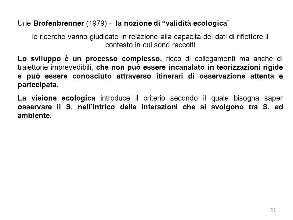 """22 Urie Brofenbrenner (1979) - la nozione di """"validità ecologica"""" le ricerche vanno giudicate in relazione alla capacità dei dati di riflettere il con"""