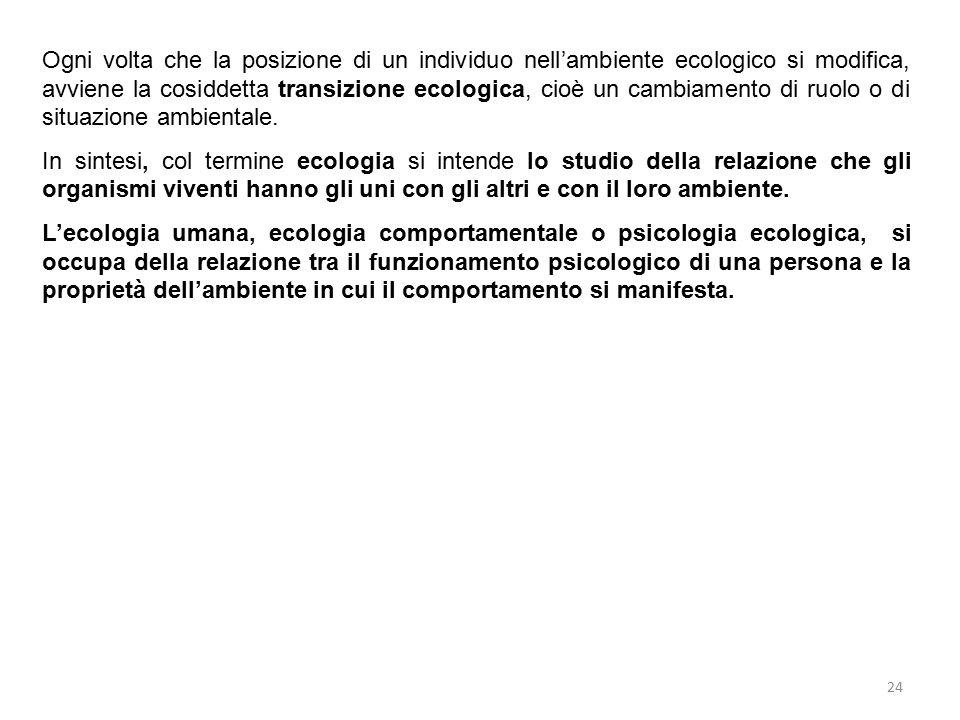 24 Ogni volta che la posizione di un individuo nell'ambiente ecologico si modifica, avviene la cosiddetta transizione ecologica, cioè un cambiamento d