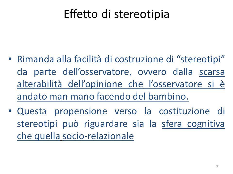 """36 Effetto di stereotipia Rimanda alla facilità di costruzione di """"stereotipi"""" da parte dell'osservatore, ovvero dalla scarsa alterabilità dell'opinio"""
