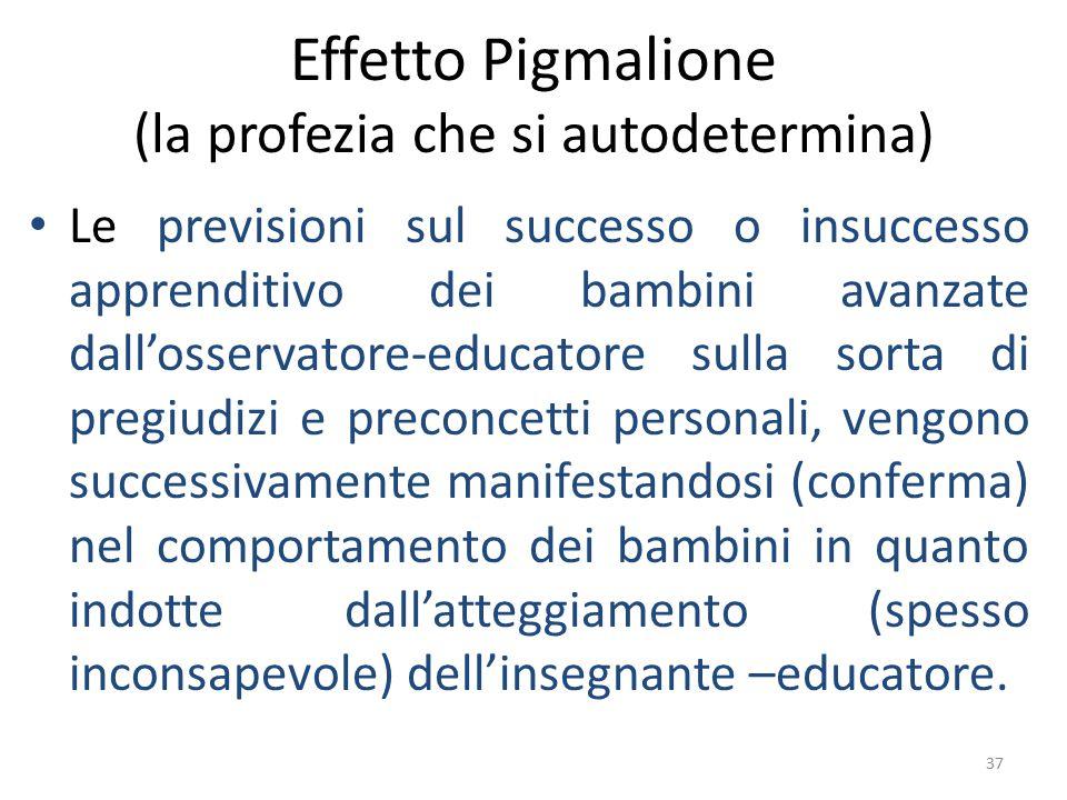37 Effetto Pigmalione (la profezia che si autodetermina) Le previsioni sul successo o insuccesso apprenditivo dei bambini avanzate dall'osservatore-ed