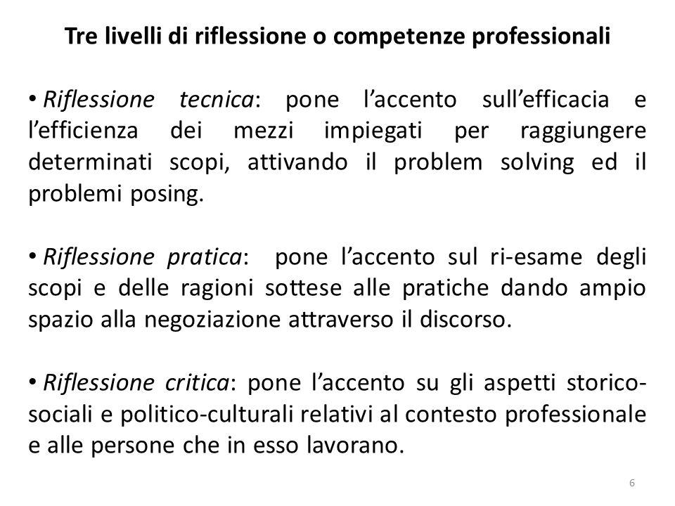 6 Tre livelli di riflessione o competenze professionali Riflessione tecnica: pone l'accento sull'efficacia e l'efficienza dei mezzi impiegati per ragg