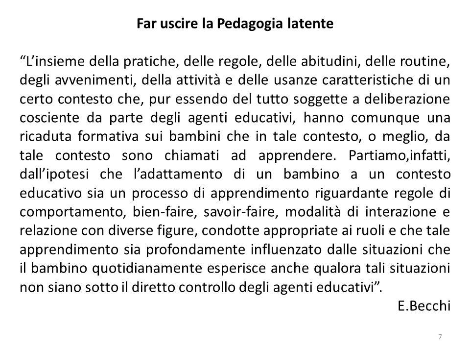 """7 Far uscire la Pedagogia latente """"L'insieme della pratiche, delle regole, delle abitudini, delle routine, degli avvenimenti, della attività e delle u"""