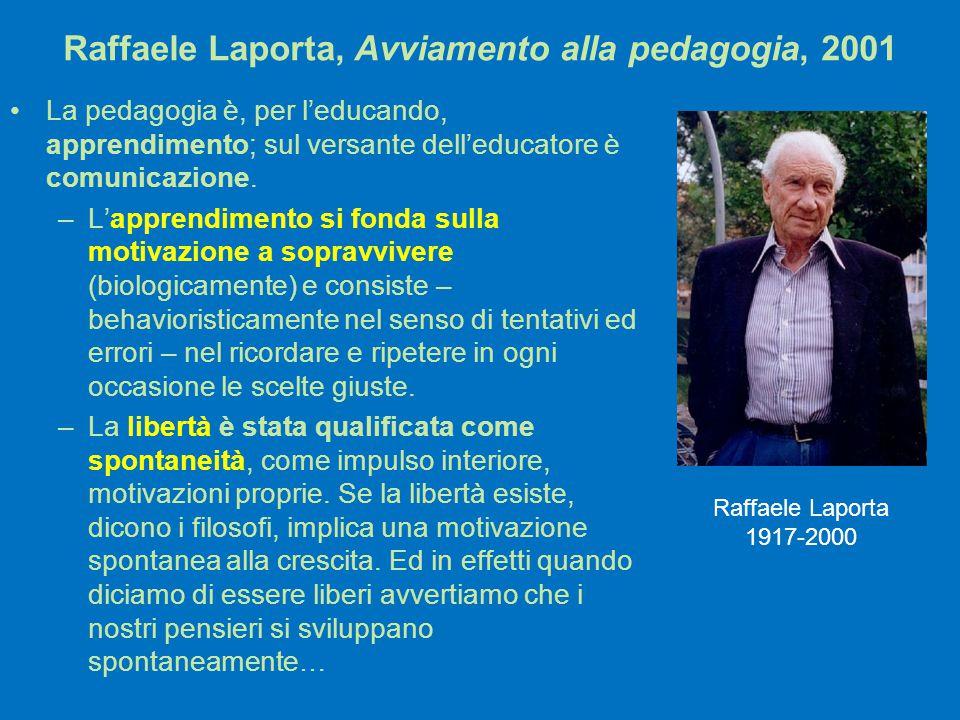Raffaele Laporta, Avviamento alla pedagogia, 2001 La pedagogia è, per l'educando, apprendimento; sul versante dell'educatore è comunicazione. –L'appre