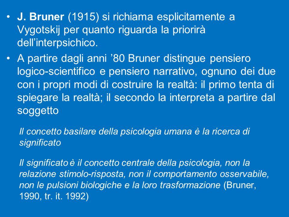 J. Bruner (1915) si richiama esplicitamente a Vygotskij per quanto riguarda la priorirà dell'interpsichico. A partire dagli anni '80 Bruner distingue