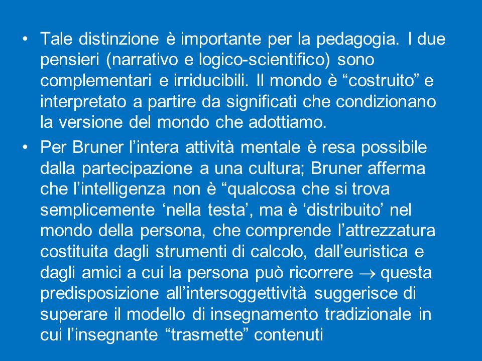 """Tale distinzione è importante per la pedagogia. I due pensieri (narrativo e logico-scientifico) sono complementari e irriducibili. Il mondo è """"costrui"""