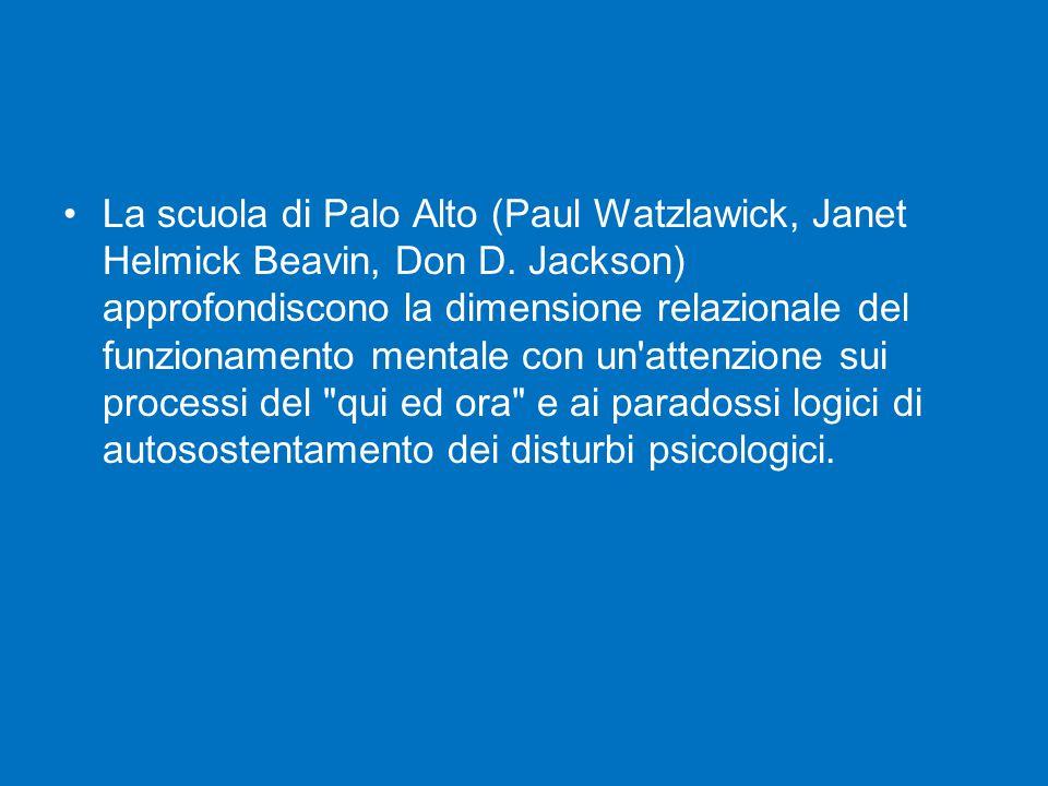 La scuola di Palo Alto (Paul Watzlawick, Janet Helmick Beavin, Don D. Jackson) approfondiscono la dimensione relazionale del funzionamento mentale con