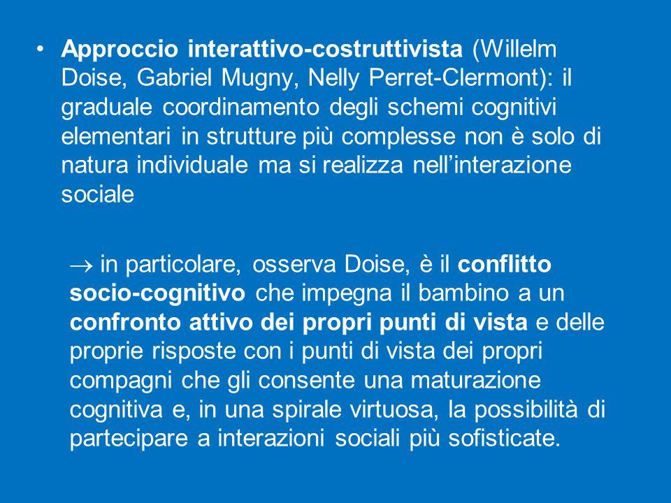 Approccio interattivo-costruttivista (Willelm Doise, Gabriel Mugny, Nelly Perret-Clermont): il graduale coordinamento degli schemi cognitivi elementari in strutture più complesse non è solo di natura individuale ma si realizza nell'interazione sociale  in particolare, osserva Doise, è il conflitto socio-cognitivo che impegna il bambino a un confronto attivo dei propri punti di vista e delle proprie risposte con i punti di vista dei propri compagni che gli consente una maturazione cognitiva e, in una spirale virtuosa, la possibilità di partecipare a interazioni sociali più sofisticate.