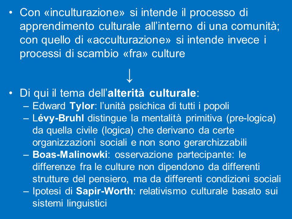 Con «inculturazione» si intende il processo di apprendimento culturale all'interno di una comunità; con quello di «acculturazione» si intende invece i processi di scambio «fra» culture ↓ Di qui il tema dell'alterità culturale: –Edward Tylor: l'unità psichica di tutti i popoli –Lévy-Bruhl distingue la mentalità primitiva (pre-logica) da quella civile (logica) che derivano da certe organizzazioni sociali e non sono gerarchizzabili –Boas-Malinowki: osservazione partecipante: le differenze fra le culture non dipendono da differenti strutture del pensiero, ma da differenti condizioni sociali –Ipotesi di Sapir-Worth: relativismo culturale basato sui sistemi linguistici