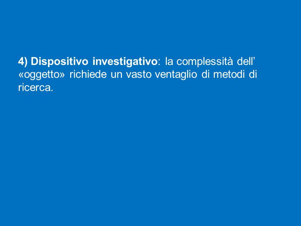 4) Dispositivo investigativo: la complessità dell' «oggetto» richiede un vasto ventaglio di metodi di ricerca.